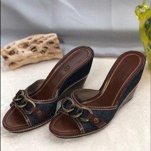 Cole Haan Denim & Leather Wedge Sandals